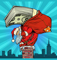 money cash dollars santa claus with gifts climbs vector image