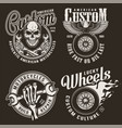 Monochrome custom motorcycle emblems