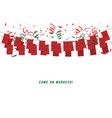 morocco garland flag with confetti vector image vector image