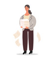 office worker is standing with a pile paper in vector image
