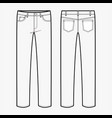 pants jeans fashion flat sketch template vector image vector image