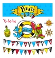 Pirate party elements on white background vector image
