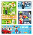 professions farmer engineer pilot and seller vector image vector image