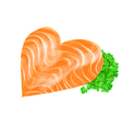 salmon heart vector image vector image