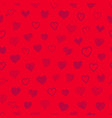 seamless pattern different hearts red vector image
