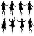 set beautiful fashion girl silhouette on a white vector image