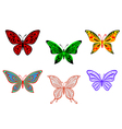 set colorful butterflies isolated on white vector image