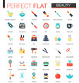 set flat beauty cosmetic icons vector image vector image