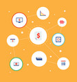 set of finance icons flat style symbols with safe vector image
