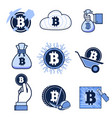 set of flat icons for bitcoin mining and vector image
