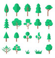 set tree in flat style isolated on white vector image vector image