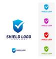 shield check logo design concept shield quality vector image