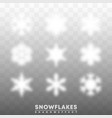 snowflakes shadow overlay effect on transparent vector image vector image