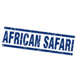 square grunge blue african safari stamp vector image vector image