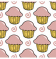 strawberry pink cream cupcake seamless pattern vector image vector image