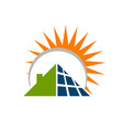 sun energy solar panels logo house and template vector image vector image
