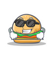 super cool burger character cartoon style vector image vector image