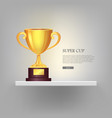 super golden cup with two handles pink background vector image vector image