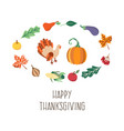thanksgiving symbols set isolated vector image vector image