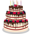 three-tiered wedding or birthday cake in chocolate vector image