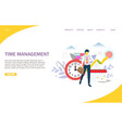 time management website landing page design vector image vector image