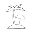 tree palm beach with umbrella vector image vector image