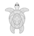 Turtle in zentangle style freehand sketch