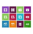 Video icons on color background vector image vector image