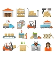 Warehouse transportation set vector image vector image