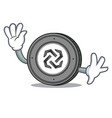 waving bytom coin character cartoon vector image vector image