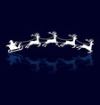 silhouettes of santa and deers vector image