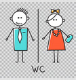 men and women wc sign for cafe shopping center vector image
