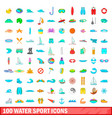 100 water sport icons set cartoon style vector image vector image