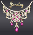 a womans necklace with precious stones vector image vector image