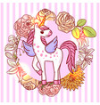 beautiful hand drawn unicorn vector image