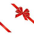 card with red gift bow vector image