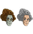 cartoon funny monster zombie granny characters vector image