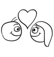 cartoon man and woman with large heart vector image vector image