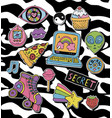 cartoon stickers or patches set with 90s style vector image vector image