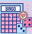 casino bingo card dices and chip game image design vector image vector image