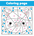 children educational game coloring page with pig vector image vector image