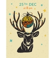 Christmas party ho ho ho invitation with reindeer vector image vector image