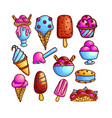 colorful set of ice-cream icons vector image vector image