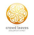 Crowd leaves ecology floral logo design