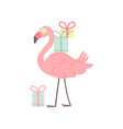 cute flamingo with gift boxes beautiful exotic vector image vector image