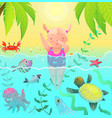 diving jumping girl kid in tropical paradise vector image vector image