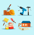drill and hammer home with ruler and brush vector image vector image