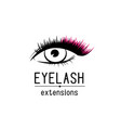 eyelash extension logo female eye with vector image vector image