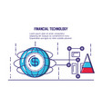 financial technology set icons vector image