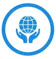 Global Hands Rounded Icon Rubber Stamp vector image